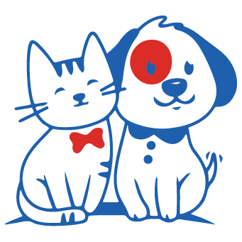 Line Drawing of Cat and Dog